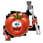 помидор с вилкой